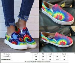 TIE DYE SLIP ON SHOES WOMAN COMFY COLORFUL SIZE 6.5 7 7.5 8 8.5 9 9.5 10 $29.99