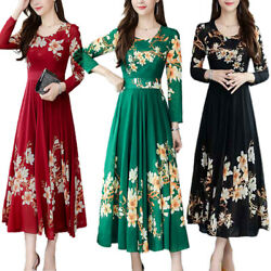 Ladies Long Sleeve Floral Maxi Dress Evening Party Elegant Swing Casual Dresses $20.29