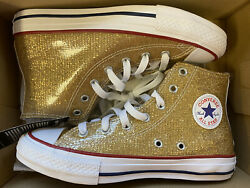 Converse All Star Kids Junior Size 4 Gold Glitter High Tops Casual Sneakers $39.99