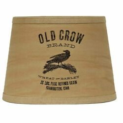 New Country Primitive Aged OLD CROW GRAIN SACK ADVERTISING LAMP SHADE Clip On $29.99