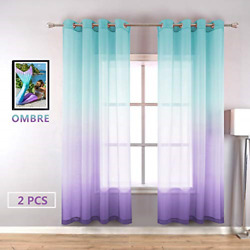 Lilac Turquoise Curtains for Bedroom Girls Room Decor 2 Panels Beautiful Ombre x $30.65