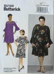 Butterick 6588 Womens Plus Dresses Sewing Pattern Sz 26W 32W $3.99