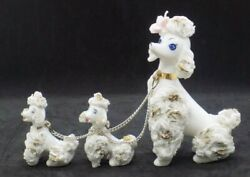 Vintage Mid Century Napco Ware Poodle and 2 Pups with Chains $12.99