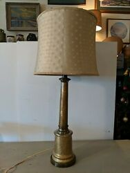 Vintage Paul Hanson Hollywood Regency Gold Crackle Glass Table Lamp w Shade $265.00