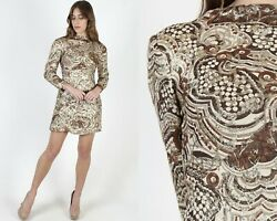 Vintage 60s Gold Metallic Dress Brown Asian Floral Cocktail Party Mod Disco Mini $53.20