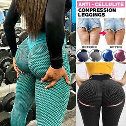 Women Yoga Pants Anti Cellulite High Waisted Scrunch Push Up Honeycomb Leggings $13.68
