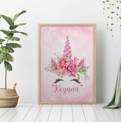 Personalized Unicorn Floral Poster No Framed For Baby Girls $30.59