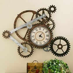 Round Gear Wall Clock Hanging Decorative Home Living Room Display Antique Look $93.64