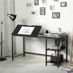 55#x27;#x27; Drafting Draft Drawing Table Artist Desk Tilted Table Art Craft Desk Black $116.98