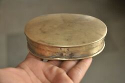 Old Brass Oval Shape Handcrafted Powder Pill Box Nice Patina $28.00