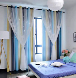 Yancorp Curtains for Girls Bedroom Kids Curtain Baby Nursery Hollow Out Star Win $34.31
