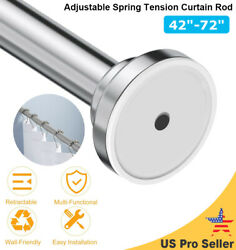 Adjustable Spring Tension Curtain Rod 42quot; 72quot; Closet Rod Stainless Steel Hot $25.64
