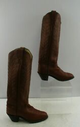 Ladies Justin#x27;s Brown Leather Western Cowgirl Boots Size: 7.5 B $64.04
