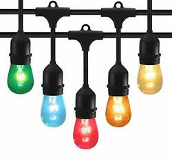 48 Feet Outdoor String Lights with 15 Hanging Sockets and S14 Edison Bulbs UL $44.24
