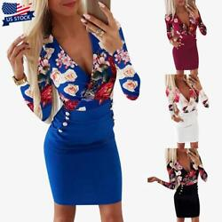 Womens V Neck Long Sleeve Mini Dress Ladies Office Floral Bodycon Party Dresses $16.89