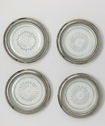 4 Vintage Glass and Silver Plated Coasters Starburst Pattern $10.00