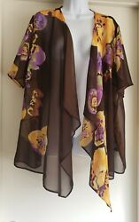 Susan Graver Top Kimono Long Cover Up Open Front Size 1X Sheer Floral Stunning $22.99