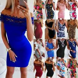 Ladies Bodycon Mini Dress Short Sleeve Slim Fit Clubwear Cocktail Party Dresses $9.97