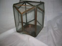 Hanging Brass and Glass Lantern case for votive or small pillar candle $9.00
