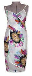 NWOT Semi Sheer Floral Chiffon Crossover Beach Cover up Wrap Dress S* $10.99