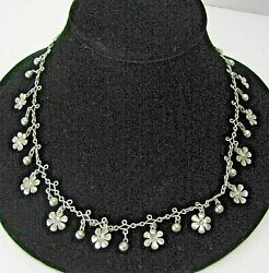 Vintage Silver Daisy Flower Hippie 20quot; Inch Chain Necklace $18.00