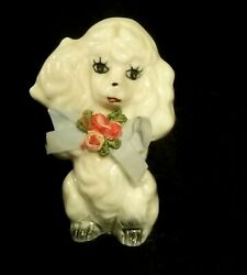 Vintage Hand Painted Ceramic Poodle Figurine With Pink Roses amp; Satin Bow $7.95