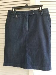 Talbots Women#x27;s Skirt Size 8 Stretch Solid Blue Denim Knee Length Button Closure $11.95