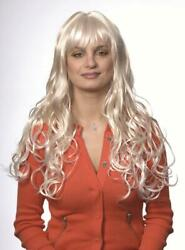 WOMENS LONG SOFT CURLS CURLY HAIR WIG W LAYERED ENDS amp; BANGS SKIN TOP ANDREA $26.95