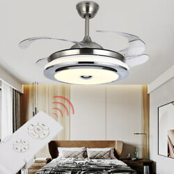 42quot; 36quot; Modern Invisible Ceiling Fan Light LED Chandelier Lamp Remote US $117.11