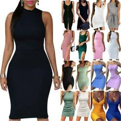 Ladies Sleeveless Slim Fit Bodycon Mini Pencil Dress Ladies Casual Party Dresses $12.89