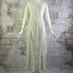 Free People Womens Long Dress Size 10 Ivory Lace Embroidered Bohemian Cotton $45.00