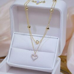 14k Gold Double Layer Zircon Heart Pendant Necklace Women Clavicle Chain Gifts C $2.12