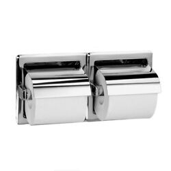 Bradley 5123 Commercial Recessed Double Roll Toilet Paper Dispenser w Hood