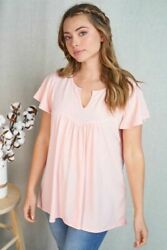 Babydoll Knit Top with Notched Neck Line $16.00