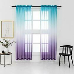 Lilac Turquoise Curtains for Bedroom Girls Room Decor 2 Panels Reversible Omb... $41.71