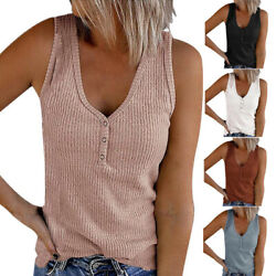 Women V Neck Sleeveless Solid Button Tank T shirt Casual Loose Blouse Tops $14.51