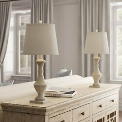 Set of 2 27quot; Marion Table Lamps for Living Room Bedroom Weathered White $79.99