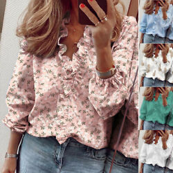 Women Long Sleeve Casual T Shirt Ruffle V Neck Plus Tops Loose Blouse Floral $13.99