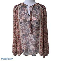 KNOX ROSE Women's Boho Size S Long Sleeve Floral Pattern Blouse Relaxed Fit. NWT $14.99