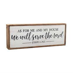 Paris Loft As for Me and My House We Will Serve The Lord Wood Rustic Wall Sign $19.01