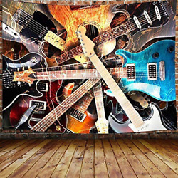 Music Tapestry Guitar Musical Tapestry Wall Hanging for Bedroom Instrument 59quot; $16.98