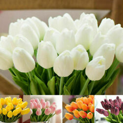 Artificial Tulips Fake Flower Real Touch Bridal Wedding Bouquet Home Decor 10pcs $9.44