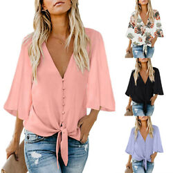 Women Summer V Neck 3 4 Sleeve Floral Print Buttoned T Shirt Casual Loose Tops $14.93