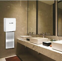Alpine Industries Willow Commercial White Automatic Hand Dryer with Wall Guard