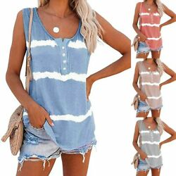 Womens Tie dye Sleeveless Tank Tops Summer Loose T Shirts Tops Blouse Plus Size $11.39