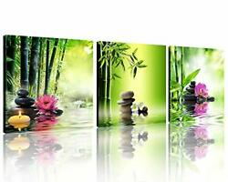 TutuBeer 3 Panels Zen Art Spa Decor Green Bamboo Decor Pink Waterlily and Fra... $35.36