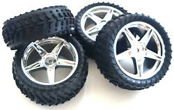 06026 26S4 1 10 Off Road Front Rear Buggy RC Wheels Off road Tyre 5 Spoke Silver $26.36