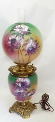 Old Antique FLORAL Pink Green GONE WITH THE WIND Electrified Oil LAMP COMPLETE $225.00