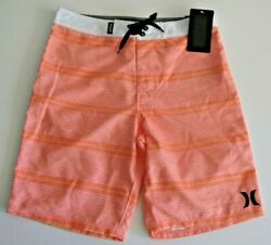 Hurley Boys 12 26 Orange Mango White Stripe Surf Board Shorts Beach Summer Swim $22.00