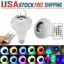 LED Wireless Bluetooth Bulb Light Speaker 12W RGB E27 Music Playing Lamp Remote $7.99